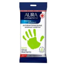 Aura Derma protect antibakteriális törlőkendő 20db-os (48db/krt)