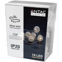 Entac Karácsonyi Beltéri Füzér Áttetsző Műanyag golyó 10 LED 1m meleg fény (db/krt)