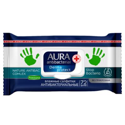 Aura Derma protect antibakteriális törlőkendő 72db-os (12db/krt)