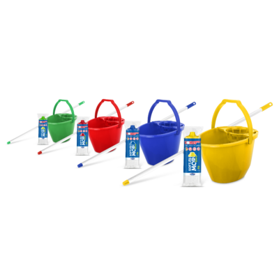 Bonus SoftMop Extra szett (vödör, csavaró, nyél, soft mop fej)(Kék/piros/sárga/zöld)