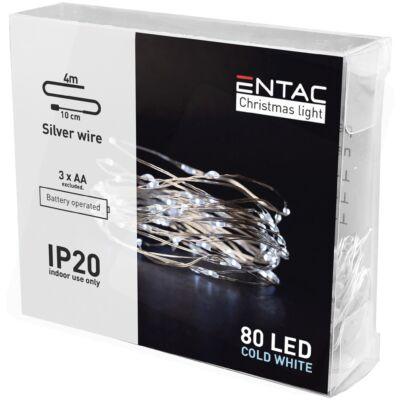 Entac karácsonyi Beltéri Mini Drótfüzér 80LED 4m hideg fény (24db/#)